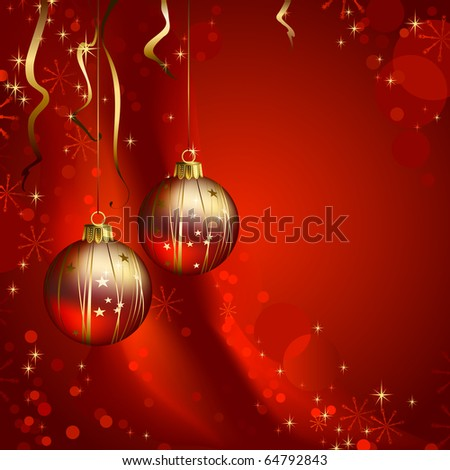 Shiny  Christmas backdrop with two evening balls - stock vector