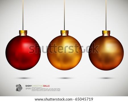 Shiny Christmas Balls | Vector Illustration - stock vector