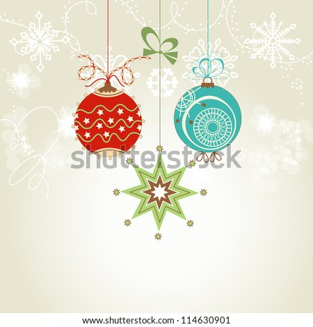 Shiny Christmas card with colorful ornaments vector illustration - stock vector