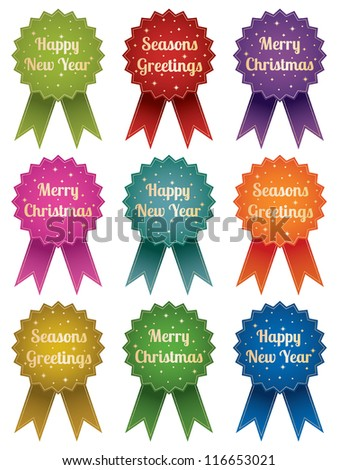 shiny christmas emblems with seasonal messages, isolated on white