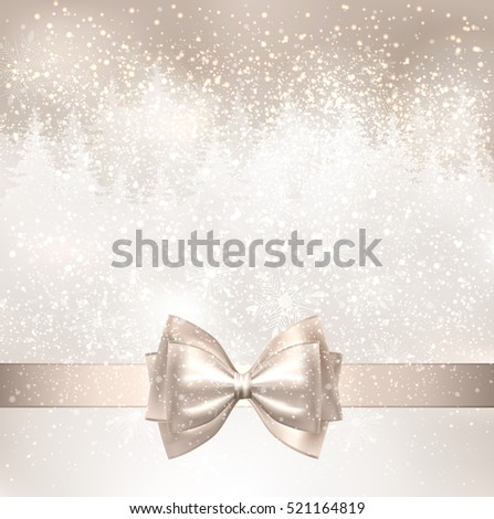 Shiny Christmas light background with winter snowy landscape and fir-trees. Holiday bow.