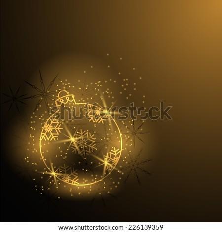 Shiny Christmas tree ball with snowflakes  - stock vector