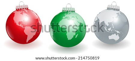 Shiny Christmas tree balls with three different angles of planet earth. Isolated vector illustration on white background. - stock vector
