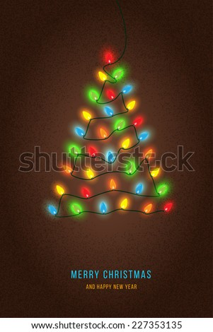 Shiny Christmas tree. Christmas tree from the garland - stock vector
