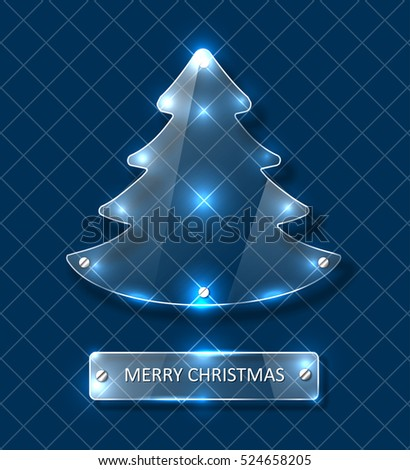Shiny Christmas Tree - Glowing Glass Vector Design