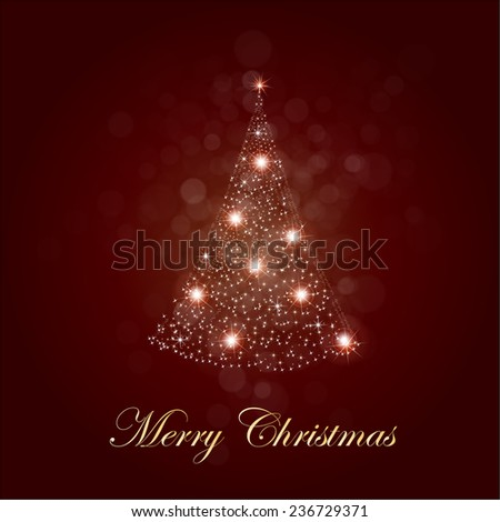 Shiny Christmas tree in brown poster . Vector illustration.
