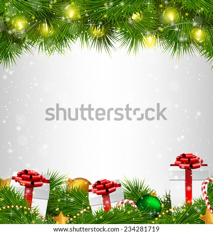 Shiny Christmas tree with gift boxes and led Christmas lights like frame on grayscale background - stock vector