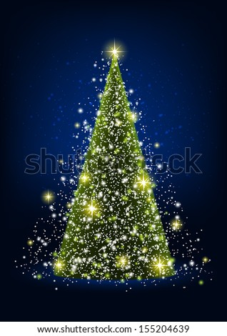 Shiny Christmas tree with lights  - stock vector