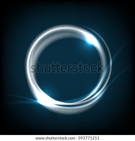 Shiny circle on dark blue background - place for your message. Vector illustration. - stock vector