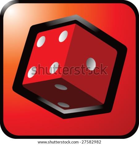 shiny colored dice icon - stock vector