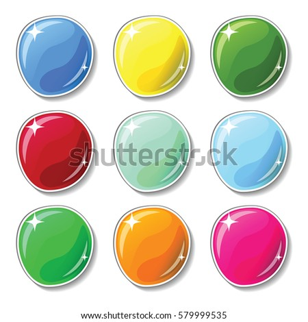 Shiny colorful buttons with glass surface effect. Blank vector buttons set for web design or game graphic. Bright marbles on white background. Empty bubbles for text or word. Board pins isolated
