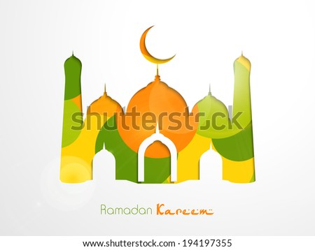 Shiny colorful illustration of mosque with crescent moon on grey background for holy month of muslim community Ramadan Kareem. - stock vector