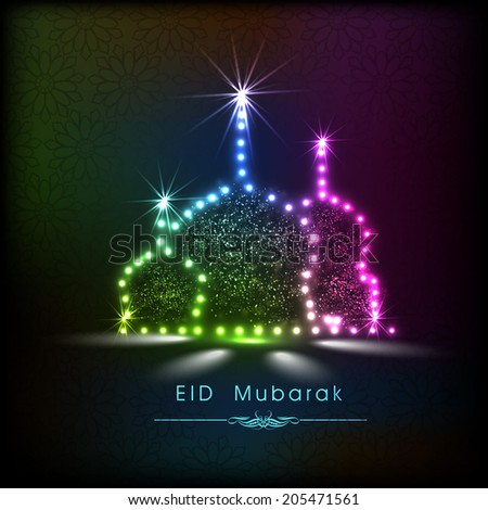 Shiny colorful mosque on colorful abstract background for muslim community festival Eid Mubarak celebrations.  - stock vector