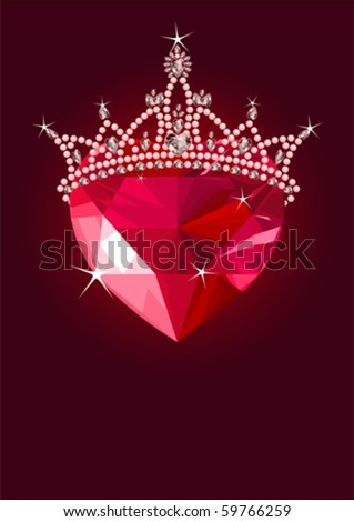 Shiny crystal love heart with princess crown  on dark background - stock vector