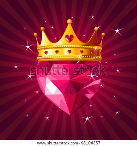 Shiny crystal love heart with princess crown  on radial background - stock vector