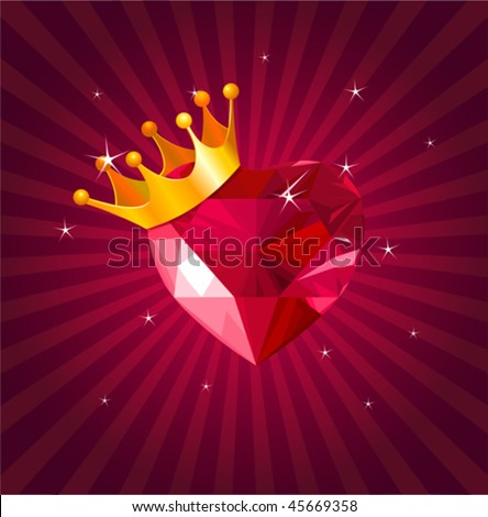 Shiny crystal love hearts with gold crown on radial background - stock vector
