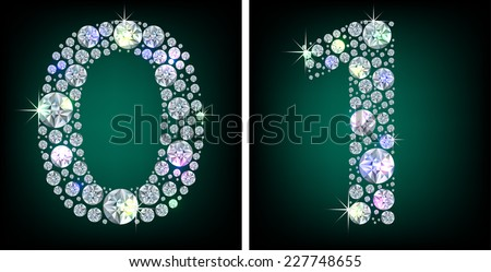 Shiny crystal one and zero numbers - stock vector