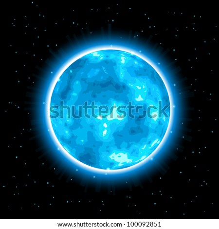 Shiny Cyan Planet with Halo On Black Background. Vector Illustration.