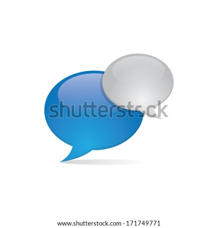 Shiny 3D Speech Bubbles - stock vector