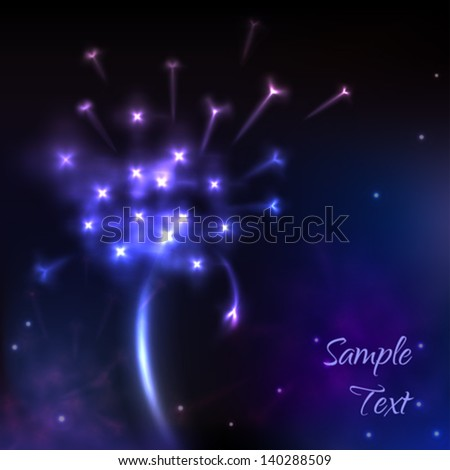 Shiny dandelion flower, abstract space background, vector eps10 - stock vector