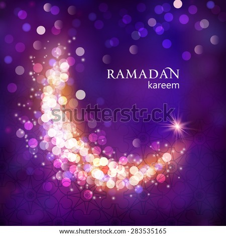 Shiny decorative moon on purple bokeh background for Muslim community events. Eid Mubarak; Ramadan kareem greetings. Festive vector illustration - stock vector