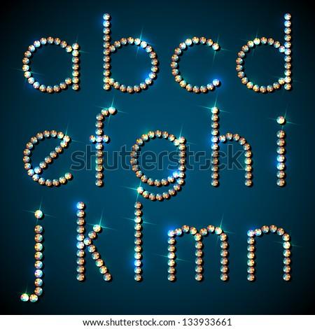 Shiny diamond alphabet letters, lower case version - eps10 - stock vector