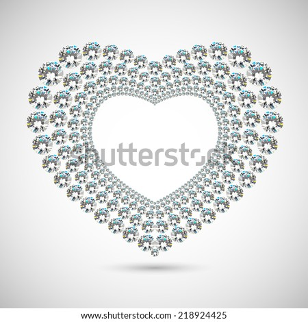 Shiny diamond heart on white background - stock vector