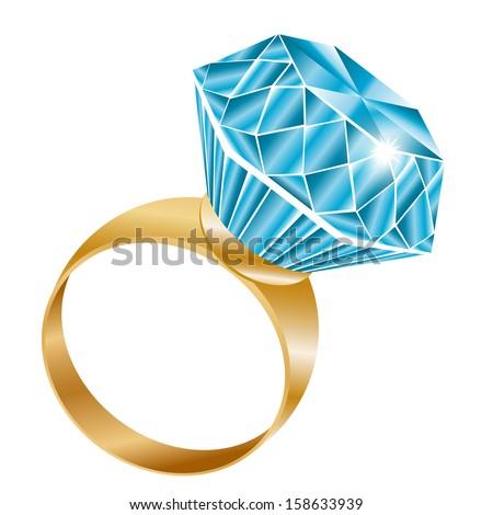 Shiny diamond ring, vector illustration  - stock vector