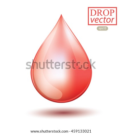 Shiny drop isolated on white background. Vector illustration.