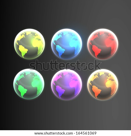 Shiny Earth globes in different colors  - stock vector