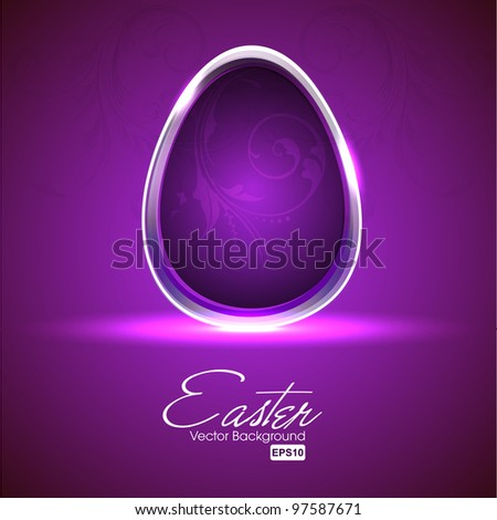 Shiny Easter egg with floral decoration in purple color, elegant floral purple background.Vector illustration in EPS 10 format. - stock vector