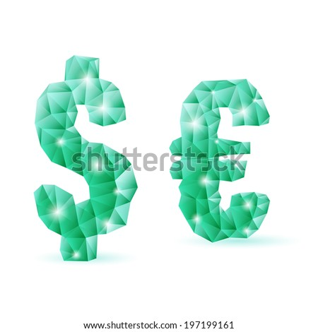 Shiny emerald green polygonal font. Crystal style dollar and euro signs - stock vector