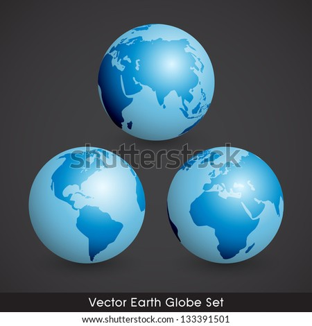 Shiny EPS10 Vector Earth Globe Set - stock vector