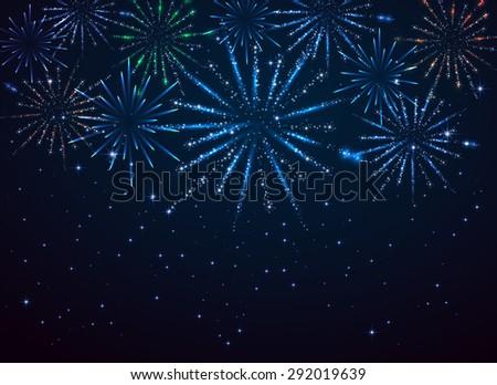 Shiny fireworks on dark blue background, illustration. - stock vector