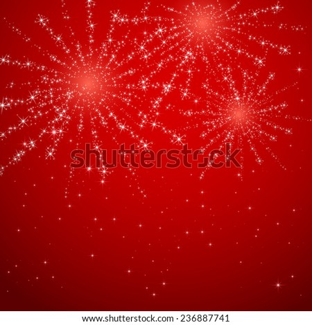 Shiny fireworks on red starry background, illustration. - stock vector