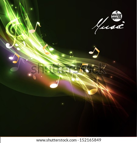 Shiny flow music note background and space for your text, vector illustration - stock vector