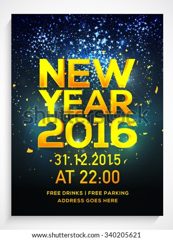 Shiny Flyer, Banner or Pamphlet with fireworks for Happy New Year's 2016 Eve Party celebration. - stock vector