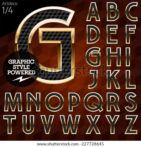 Shiny font of gold and diamond vector illustration. Artdeco normal. File contains graphic styles available in Illustrator - stock vector