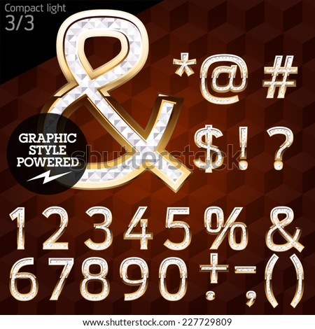 Shiny font of gold and diamond vector illustration. Compact light. File contains graphic styles available in Illustrator - stock vector