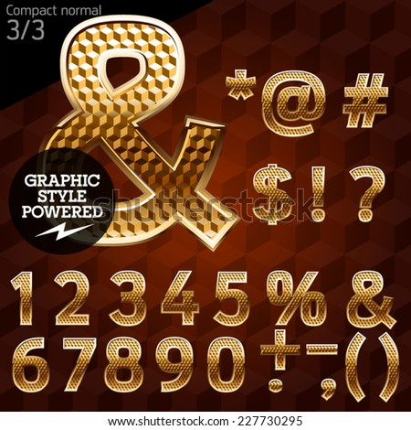 Shiny font of gold and diamond vector illustration. Compact normal. File contains graphic styles available in Illustrator - stock vector