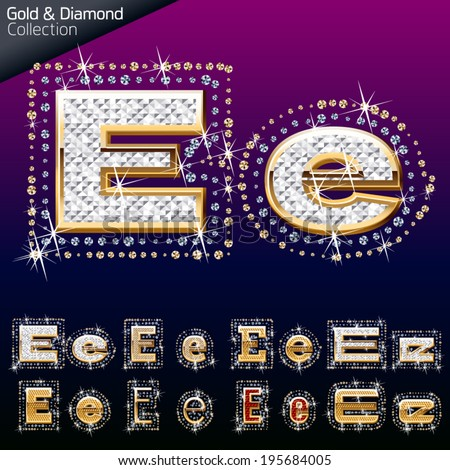 Shiny font of gold and diamond vector illustration. Letter e - stock vector