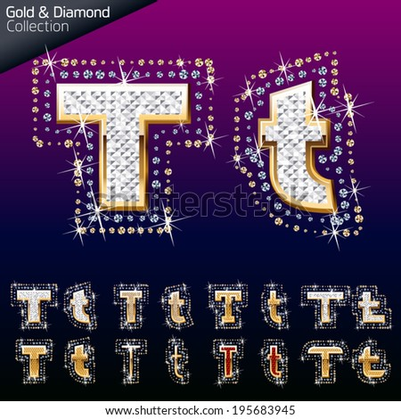 Shiny font of gold and diamond vector illustration. Letter t - stock vector