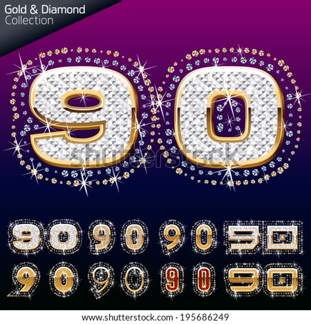 Shiny font of gold and diamond vector illustration. Numbers 9 - 0 - stock vector