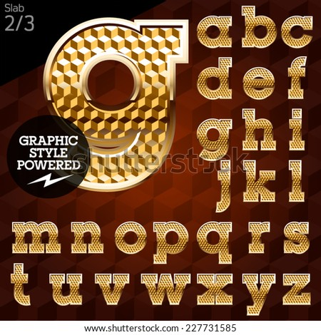 Shiny font of gold and diamond vector illustration. Slab. File contains graphic styles available in Illustrator - stock vector