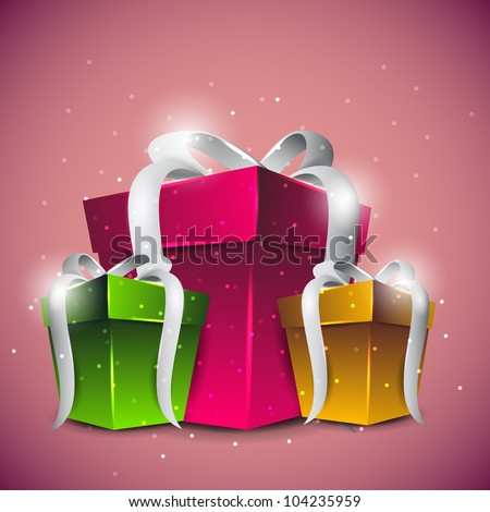 Shiny gift boxes in pink, green and yellow color with glossy silver ribbon on beautiful pink background. EPS 10. - stock vector