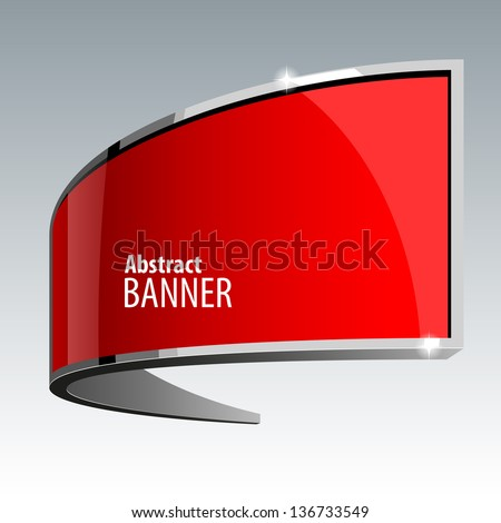 Shiny gloss red vector banner eps 10 - stock vector