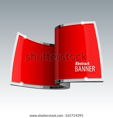 Shiny gloss red vector web banner. Ring shape. eps 10 - stock vector