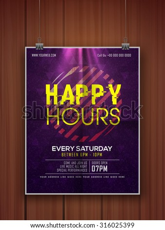 Shiny glossy elegant Happy Hours flyer, banner or template design hanging on wooden background. - stock vector