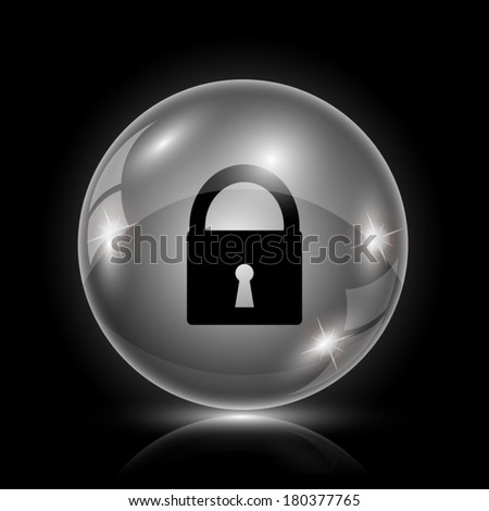 Shiny glossy icon - glass ball on black background - stock vector