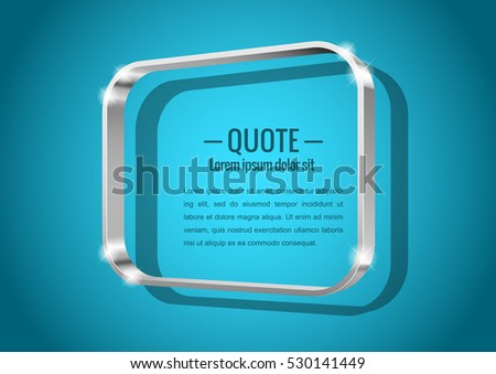 Shiny glossy of metal 3d banner. Rectangular shape with rounded corners, for messages or quotes. Vector illustration